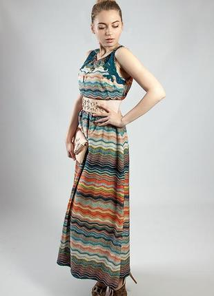 Женское платье цветное летнее в пол  markshara код М-21380