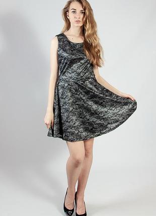 Женское платье мини гипюровое вечернее черное код М-1976