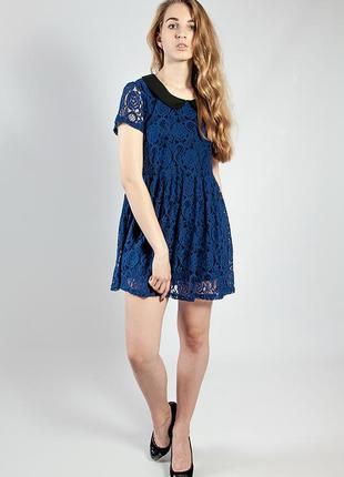 Женское платье синее гипюровое с воротничком код-1977