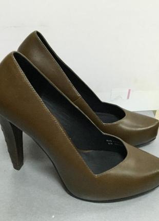Туфли женские кожаные оливкового цвета  other stories код О1676