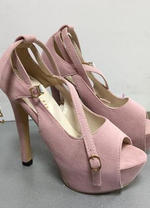 Туфли открытые на высоком каблуке замшевые  ..код S20954