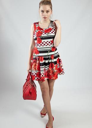 Платье женское летнее яркое цветное короткое код R-230
