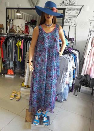 Женское платье летнее длинное в пол  дизайнерское код ТД-044