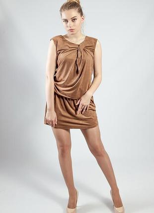 Женское платье мини песочное без рукавов под замшу rinascimento