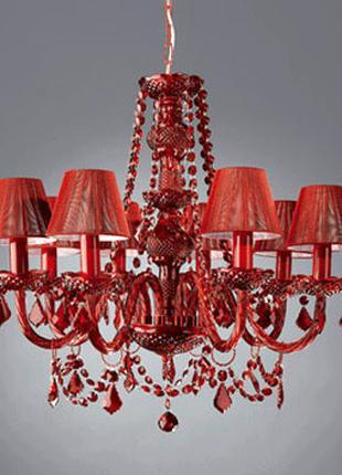 Люстра для спальни и гостиной. Massive 8 ламп. Цвет красный.Новая