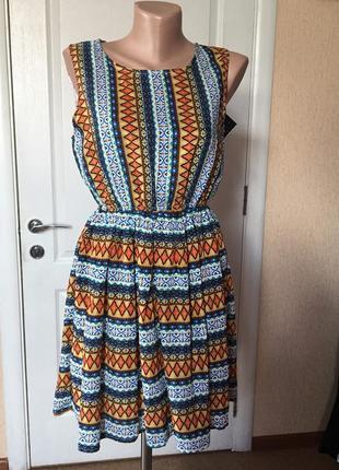 Женское платье летнее яркое короткое без рукава  код М-1963