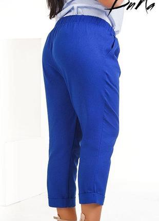 Женские летние брюки-капри лен код К-42583