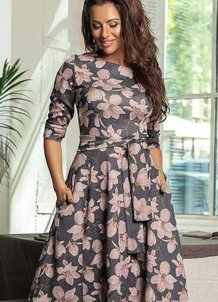 Новинка! женское демисезонное платье в цветах код К-44164