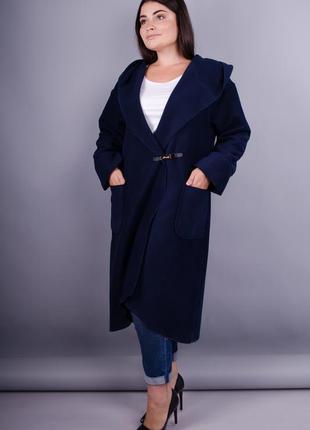 Женское пальто-кардиган больших размеров. синий. код Гл-127