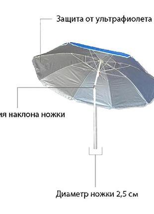 Зонт от солнца 200см с наклоном и защитой от УФ излучений в чехле