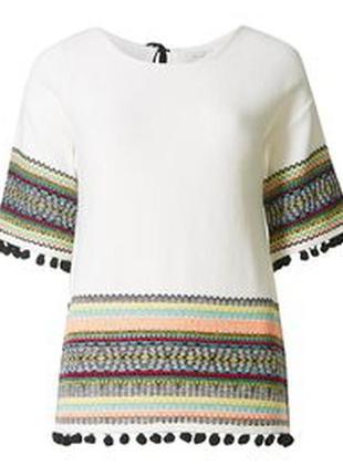 Актуальная котоновая блуза топ в стиле бохо №188