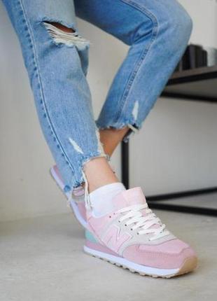 Женские замшевые кроссовки new balance 574 pink ◈ кеды ◈ розового