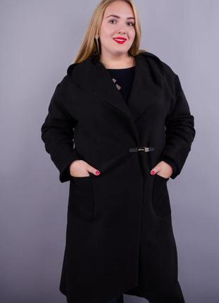 Женское пальто-кардиган больших размеров. черный код Гл-128