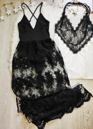 Черное пляжное платье боди с ажурной юбкой гипюр вышивка секси...
