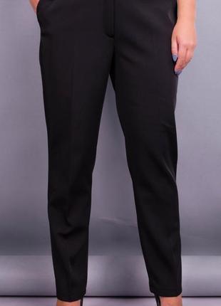 Женские батальне брюки в классическом стиле, утепленные. черны...
