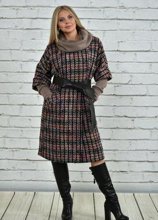 Хит сезона! женское пальто на подкладке с поясом   код Га-0357-3