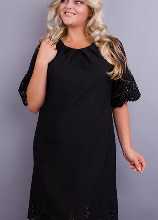 Платье женское черное плюс сайз код Гл-022