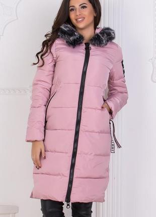 Женская зимняя удлиненная куртка код К-46618