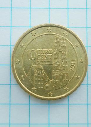 Монета Австрия 10 Eurocent евроцентов 2011 Латунь не магнитится