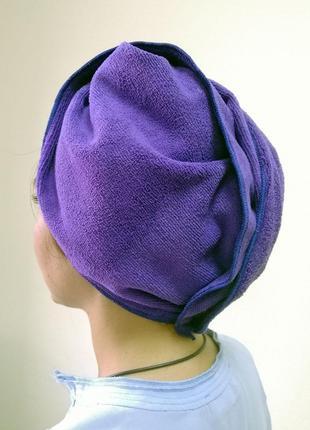 Полотенце - чалма для сушки волос (микрофибра фиолетовая) (md9092