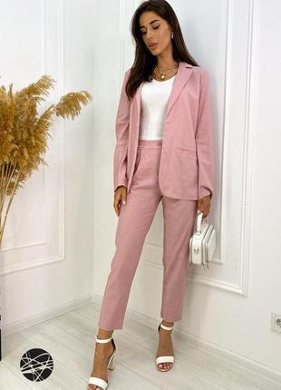 Жіночий лляний брючний костюм двійка піджак жакет штани брюки