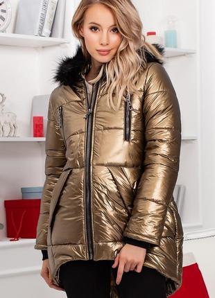Новинка! женская зимняя куртка с капюшоном код К-47781