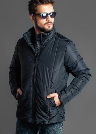Мужская зимняя теплая куртка черная код К-47773