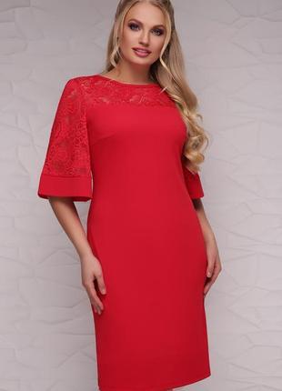 Платье женское нарядное красное с гипюром код G-Мирина-Б к/р