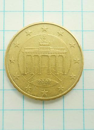 Монета Германия 10 EuroCent евроцентов 2002 F Штутгарт Латунь №1
