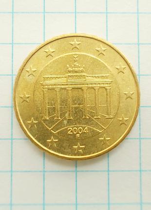 Монета Германия 10 EuroCent евроцентов 2004 F Штутгарт Латунь