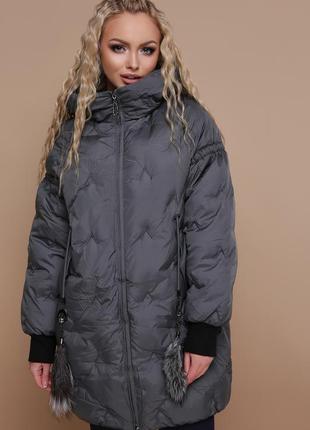 Объемная женская зимняя куртка-пуховик оверсайз код G-1912