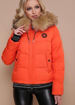 Женская зимняя куртка-пуховик с капюшоном и мехом код G-18-132