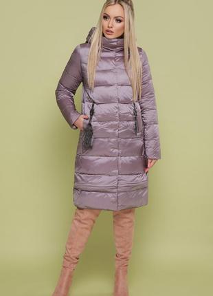 Женская теплая зимняя удлиненная куртка с капюшоном код G-200.
