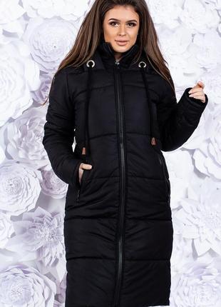 Куртка-пальто  с капюшоном зимняя черная код К-49153