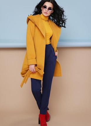 Красивое женское демисезонное пальто горчичного цвета код G-П-3К