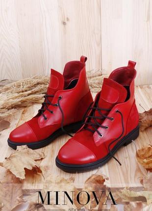 Женские кожаные красные ботинки код 1040-красная кожа-замша