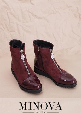 Ботинки Натуральные замшевые  код 1222М-бордо замша-лак