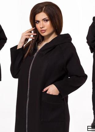 Женское укороченное пальто с капюшоном код Б-26919