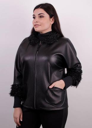 Элегантная  легкая женская черная куртка код Гл-099