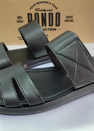 Комфортные кожаные шлёпанцы на липучке rondo