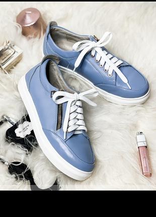 Женские мокасины кеды туфли код 303М-голубая кожа