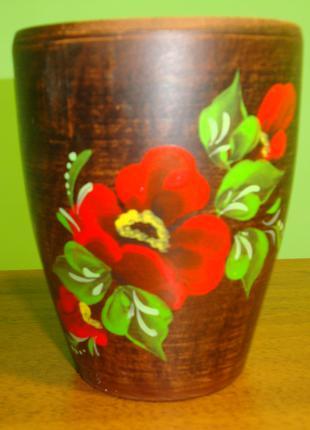 Керамический стакан расписной. Ручной работы.