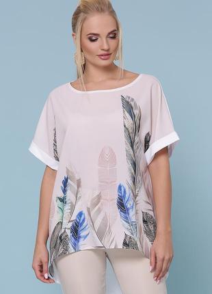 Туника блузка кофта футболка женская код G-Лиона-Б к/р