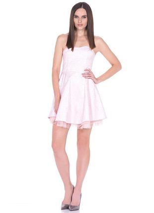 Брендовое розовое нарядное короткое мини платье бюстье house к...