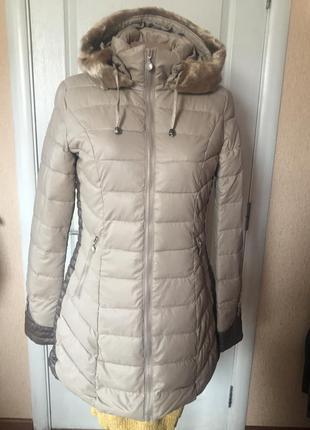 Куртка удлиненная теплая, италия,цвет беж код 767