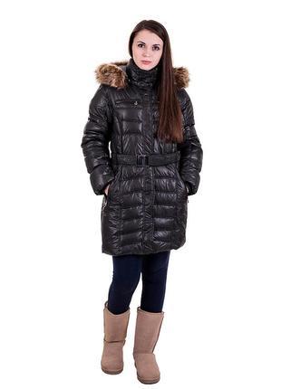 Молодежное зимнее пальто черное и розовое с капюшоном код 20674