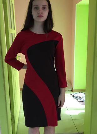 Платье женское весна-осень деловое красно-коричневое офисное