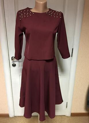 Женский костюм празднично-деловой марсалавого цвета, код266