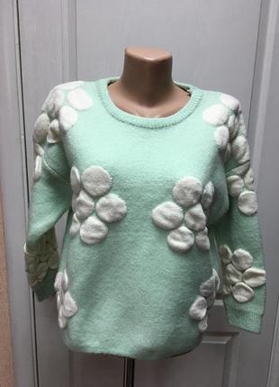 Свитер женский теплый мятный с цветами iwish ТД-079