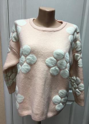 Свитер женский теплый  кремовый с цветами iwish код ТД-079-1
